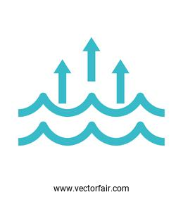 water waves evaporation nature liquid blue silhouette style icon