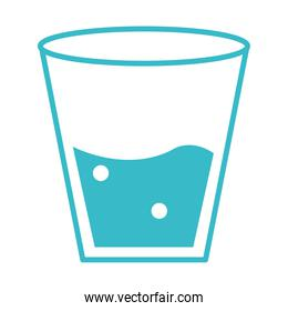 glass with water mineral liquid blue silhouette style icon