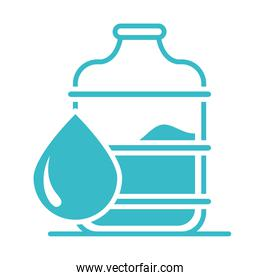 plastic bottle and water drop nature liquid blue silhouette style icon