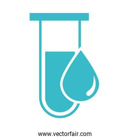 test tube and water drop nature liquid blue silhouette style icon