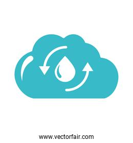 cloud water drop recycle nature liquid blue silhouette style icon