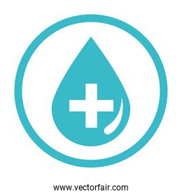 medical water drop health liquid blue silhouette style icon