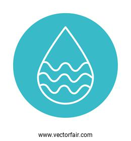 water drop with waves nature liquid blue block style icon
