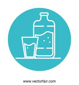 water bottle and cup nature liquid blue block style icon