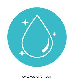bright water drop nature liquid blue block style icon