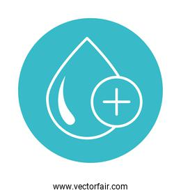 plus medical water drop nature liquid blue block style icon