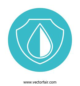 water drop shield protection nature liquid blue block style icon