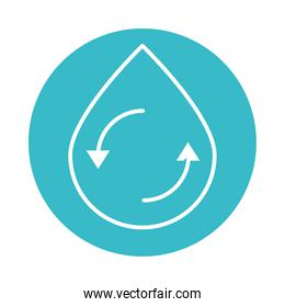 recycle water drop nature liquid blue block style icon