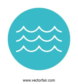 waves water fluid nature liquid blue block style icon