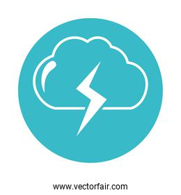 cloud thunderbolt weather water nature liquid blue block style icon