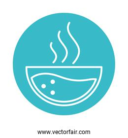 hot water in bowl nature liquid blue block style icon