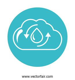 cloud water drop recycle nature liquid blue block style icon