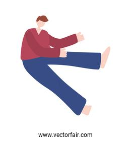 young man practicing stretching exercises on white background isolated icon