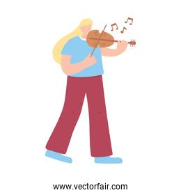 woman playing violin musical instrument isolated icon white background