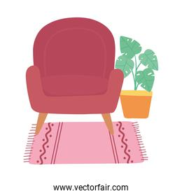 red chair potted plant in carpet decoration home interior isolated design