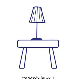 decorative lamp on wooden table isolated icon white background