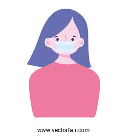 covid 19 coronavirus, young woman with medical mask, prevention outbreak, isolated icon design white background