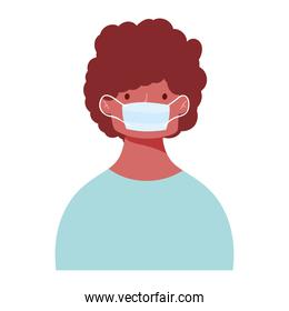young man wearing medical mask, protection outbreak, isolated icon design white background