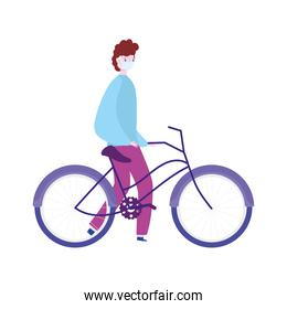 boy with medical mask and bicycle transport, prevention covid 19, isolated icon design white background
