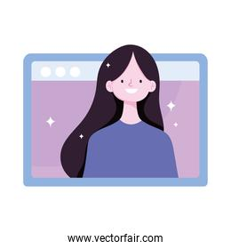 young woman video online training isolated icon design white background