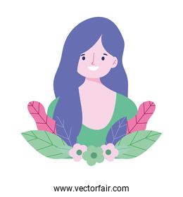 young woman character flowers leaves foliage icon design