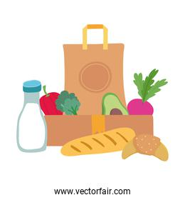 grocery bag and box with vegetables milk bottle and bread isolated icon illustration