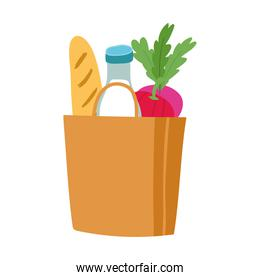 grocery bag and box with milk bottle and bread isolated icon design