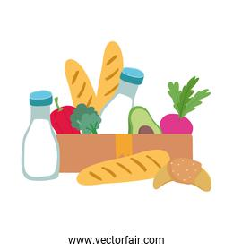 grocery bag and box with vegetables milk bottle and bread isolated icon design