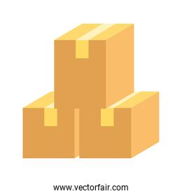delivery logistic cardboard boxes stacked isolated icon design