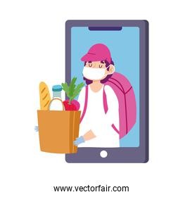 safe delivery at home during coronavirus  covid 19 , courier man with mask and grocery bag order smartphone