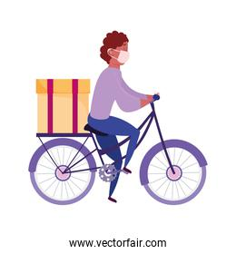 safe delivery at home during coronavirus  covid 19 , courier man with mask riding bike with box