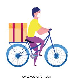 safe delivery at home during coronavirus  covid19 , courier man with mask riding bike with box