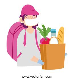 safe delivery at home during coronavirus  covid 19 , courier man with mask and grocery bag