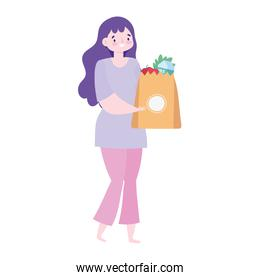 safe delivery at home during coronavirus  covid 19 , customer woman wit grocery bag with food