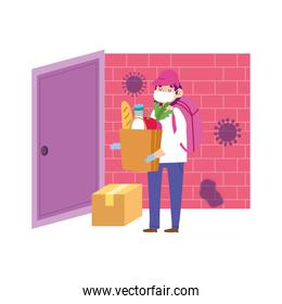 safe delivery at home during coronavirus covid 19 , courier man carrying cardboard box in door home
