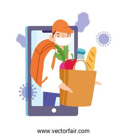 safe delivery at home during coronavirus  covid 19 , courier man with grocery bag on screen smartphone