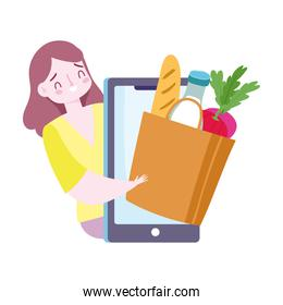 safe delivery at home during coronavirus  covid 19 , online service ordering food, woman with smartphone