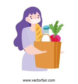safe delivery at home during coronavirus  covid 19 , young woman with mask grocery bag food