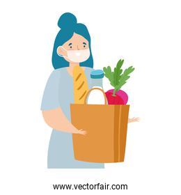 safe delivery at home during coronavirus  covid 19 , woman with protective mask and grocery bag with food