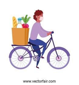 safe delivery at home during coronavirus  covid 19 , courier man riding bike with big  bag market
