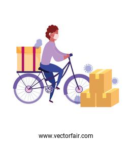 safe delivery at home during coronavirus  covid 19 , courier man riding bike with cardboard boxes