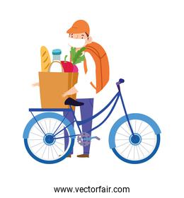 safe delivery at home during coronavirus  covid 19 , courier man riding bike with bag market