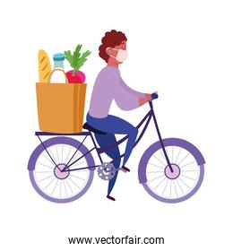 safe delivery at home during coronavirus  covid 19 , courier man riding bicycle with mask and bag market