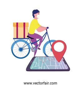 safe delivery at home during coronavirus  covid 19 , courier man with medical mask riding bike, smartphone gps navigation