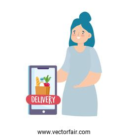safe delivery at home during coronavirus  covid 19 , woman ordering food by smartphone