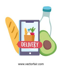 safe delivery at home during coronavirus  covid 19 , smartphone order food grocery bag