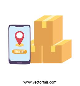 safe delivery at home during coronavirus  covid 19 , smartphone order cardboard boxes navigation pointer app