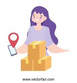 safe delivery at home during coronavirus  covid 19 , customer woman cardboard boxes mobile app location pointer