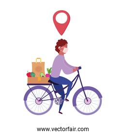 safe delivery at home during coronavirus  covid 19 , courier with mask and food order riding bicycle