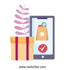 safe delivery at home during coronavirus  covid 19 , smartphone cardboard box grocery bag food check mark app